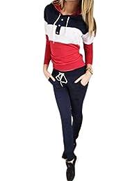 Survêtements pour Femmes Sweats à Capuche Sweat-Shirt + Pantalon Habit de Sport Ensemble DE 2 Pièces Jogging Suit Rouge/Gris/Bleu