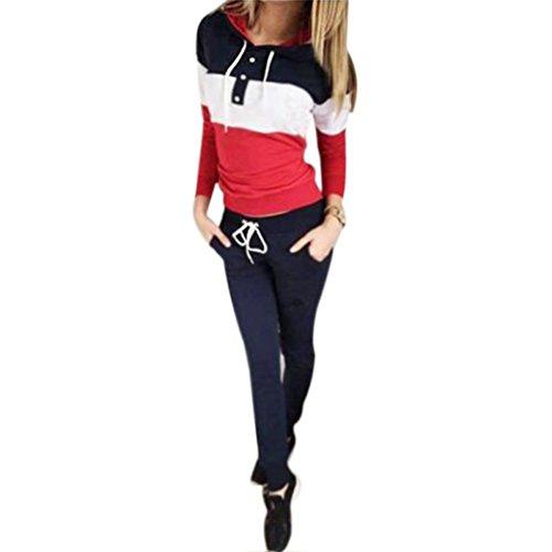 Meedot Damen Sportanzug Traingsanzug Jogginganzug Frauen 2 Teilig Freizeitanzug Kapuzenpullover Sweatshirt + Sporthosen Sport Casual Jogging Running Rot XL