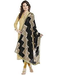 Dupatta Bazaar Women's Black & Gold Phulkari Embroidery Chiffon Dupatta