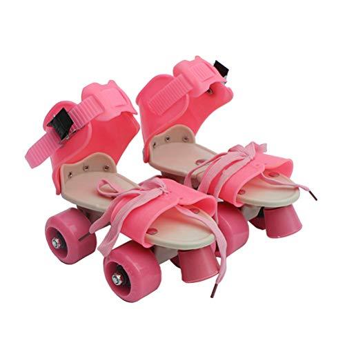 Vosarea Kinder Verstellbare Doppelreihe Skating Patins Vier Rollen Skates Schuhe Kinder Geschenke Größe 25-32 (pink)