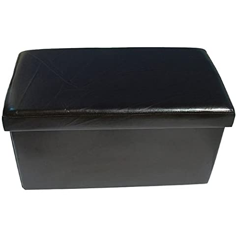 New Large Ottoman Foldaway Storage Blanket Toy Box Bench Faux Leather Black 76x38cms
