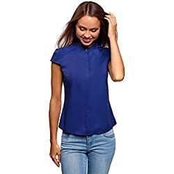oodji Ultra Mujer Camisa de Manga Corta de Algodón, Azul, ES 42 / L