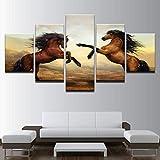Mddrr Leinwand Gemälde Wohnkultur Wandkunst Rahmen 5 Stücke Sonnenuntergang Braun Pferde Bilder Für Wohnzimmer Hd Druckt Tier Poster Poster