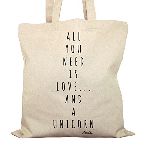 Tote Bag Imprimé Ecru - Toile en coton bio - All you need is love and a unicorn