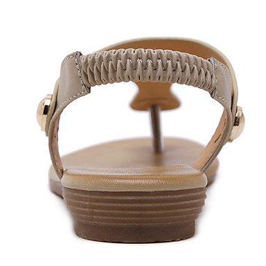LvYuan Sandali-Formale Casual-Suole leggere-Piatto-PU (Poliuretano)-Nero Tessuto almond almond