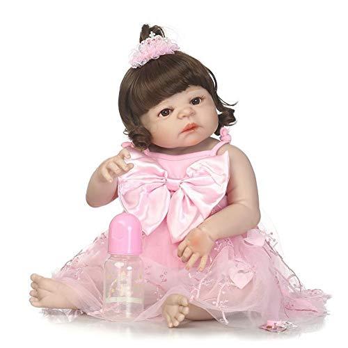 CHENG Baby Reborn Dolls Girls 22 Zoll mit geschweiften goldenen Haaren Kleinkind Puppe Real Touch Geschenk (Girl Puppe Real)