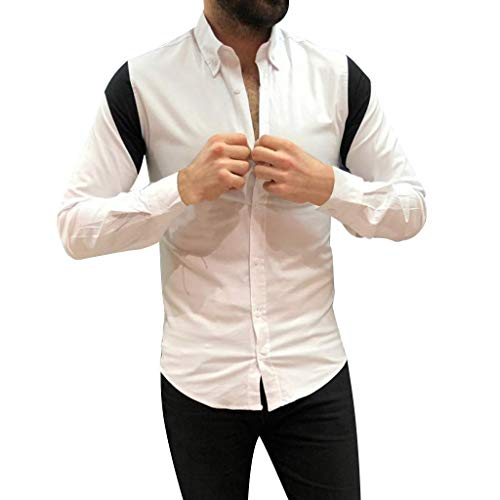 DNOQN Running Shirt Herren T Shirt Lange ärmel Männer Gestreift Spleißen Taste Langarm Shirt Mode Langarm Bluse Top XL