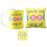 #8: YaYa cafe Mothers Day Gifts for Mother in Law Cool Sasu Maa cushion cover 12x12 inches Gift Combo for Mother Set of 3 - (Cushion Cover-Mug-Coaster)