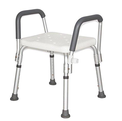 MEYLEE YC5200 Verstellbare Badewanne und Dusche Stuhl mit Armlehnen/Anti-Rutsch-Bank Badewanne Hocker Sitz mit Aluminium Beinen (Stuhl Moderne Rechteckige)