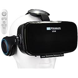 Gafas VR VR-PRIMUS VA4 + Mando | para Smartphone 's p.ej. iPhone,Samsung Galaxy,HTC,Sony,LG,Huawei | Ajustable,Google Cardboard QR,Auriculares,Botón de Control | VR Box,Glasses,Controlador | Negro