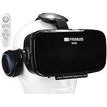 Casque VR VR-PRIMUS VA4 + télécommande | Pour Smartphone 's p.ex. iPhone,Samsung Galaxy,HTC,Sony,LG,Huawei | Google Cardboard QR,Écouteurs,Bouton de contrôle | Lunettes VR RV,contrôleur,manette | noir