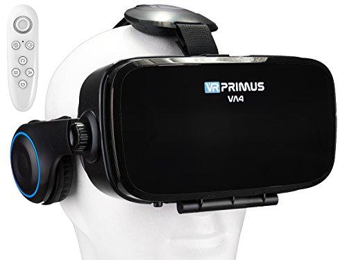 VR Brille VR-Primus VA4 + Fernbedienung für Android Handy \'s | VR-Headset für Smartphone \'s z.B. HTC,Sony,LG,Huawei,iPhone,Samsung,7,8,9 | Kopfhörer,Steuerknopf,Controller | Google Cardboard |Schwarz