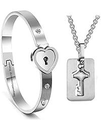 University Trendz New Design Heart Lock and Key Stainless Steel Couple Bracelet Pendant Set for Lovers Men and Women (Silver)