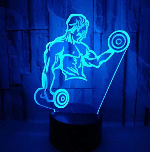 3D Optische Illusions-Lampen Fitness 7 Farben Erstaunliche Optische Täuschung Die Schlafzimmer-Dekoration Für Kinder Weihnachten Halloween-Geburtstagsgeschenk Beleuchten
