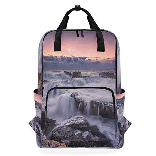 Laptop stilvolle Computer Schule Rucksack lässig tragbare Tasche für Frauen Männer Sonnenaufgänge Sonnenuntergänge Küste Steine   Wellen