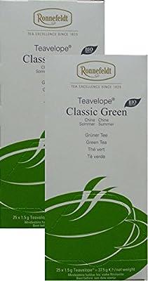 Ronnefeldt-Teavelope Classic Green Lot de 2 sachets de thé vert 2 x 25 x 1,5 g