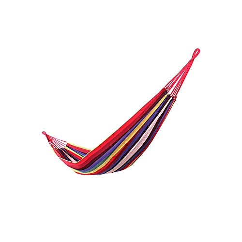 COKECO Tragbare Einzel Hängematte Outdoor Garten Leinwand Hängematte Reisen Camping Anti Rollover Hängematte Outdoor Swing Tragkraft 230kg 190x145cm Rot -