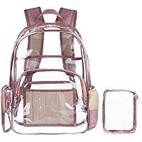VORCOOL Multibolsillos Transparente Mochila Escolar Mochila de Viaje al Aire Libre Bolsa de Maquillaje Organizador Fit Laptop de 15.6 Pulgadas de Oro Rosa