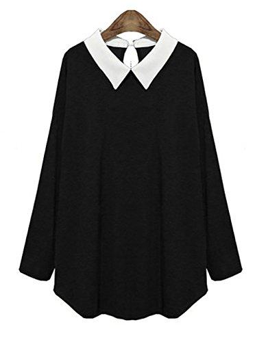 LAI MENG Donna Oversize Top T-shirt di 2 in 1 nuovo stile caldo allentato camicette