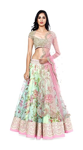Cad Fashion Women's Net Unstitched Lehenga Choli (Off-White and Pink)