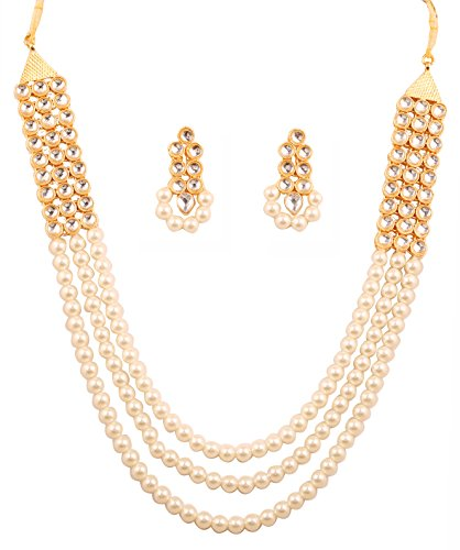 Touchstone indischen Bollywood Faux Perlen kundan Look Jewelry Halskette lang Grand Set in Gold Ton für Frauen (Faux Perlen Halskette Set)