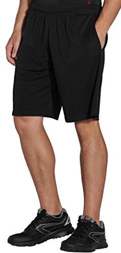 Polyester-kurze Tasche (KomPrexx Sporthose Herren Kurz mit Taschen - Schnell Trocknend - Fitness Sport Shorts mit Kordelzug Kurze Trainingshose, Schwarz, XXL)