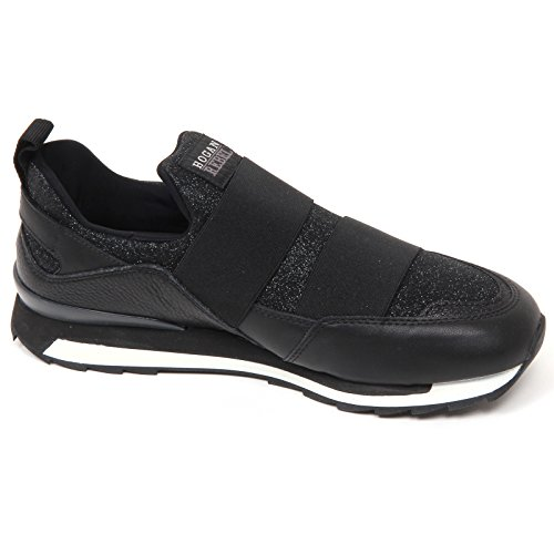 D0578 sneaker donna HOGAN REBEL R261 scarpa nero slip on shoe woman Nero