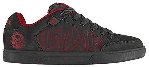 mens-lace-up-outlaw-graffiti-style-logo-skate-shoes-12-46-charcoal-red