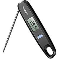 TOPELEK Cooking Instant Read Food Digital Long Probe Auto Off Kitchen Thermometer for Barbecue, Meat, Sugar, Milk, Water, Jam, Chocolate, Etc [Energy Class A++], Black, 4.8 Inches