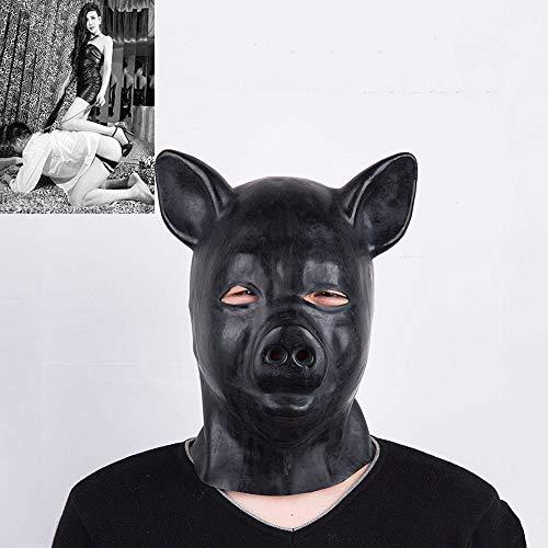 Kostüm Fetisch Tier - SM Naturlatex Schwein Maske/Tier Kostüm Masken, Paar Bondage Sexspielzeug für Cosplay/Folter/Fetisch/fesseln/Sklave/BDSM