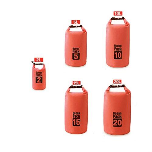 Duffle Radfahren Bag (Bluelans leicht wasserdicht Dry Bag Rucksack 2/5/10/15/20L Floating Sack, Orange, 15 l)