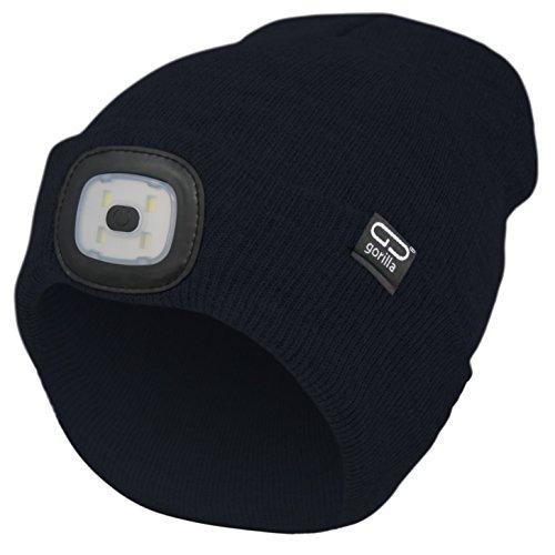 Mütze-Beanie Farbe schwarz mit LED Licht/Lampe USB-rechargeable, unisex, onesize, 3 Stufen dimmbar, waschbar, Lampe entnehmbar  für camping und Arbeiten im Dunkeln   Marken Qualität von GORILLA