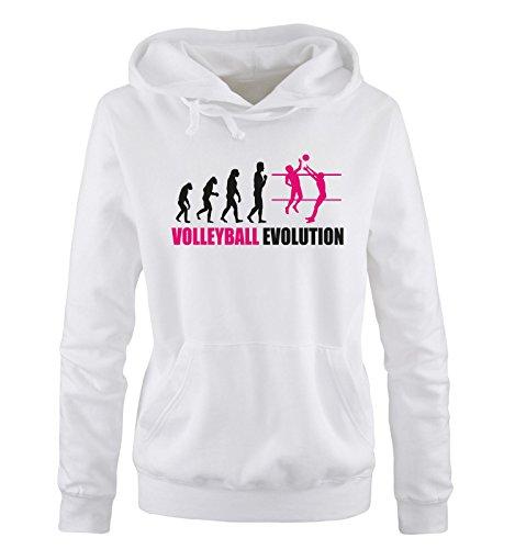 Comedy Shirts - Volleyball Evolution - Damen Hoodie - Weiss/Schwarz-Pink Gr. S