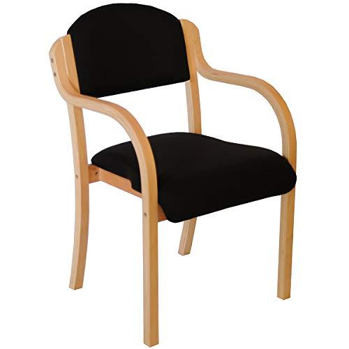 Chaise empilable Devon avec accoudoirs, coloris noir - fauteuil pour salle d'attente à piétement bois - Chaise visiteur rembourrée