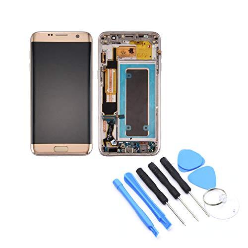 FairytaleMM LCD-Anzeigen-Screen-Analog-Digital wandler mit Rahmen Handy-Ersatzteile für Samsung Galaxy S7 Rand G935F(Gold)