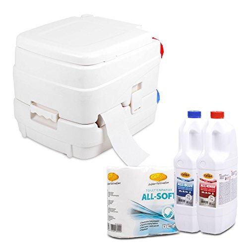 Camp4 Campingtoilette Chemietoilette Set, Füllstandkontrolle, Kolbenpumpe, 4,3 kg, weiß inkl. Toilettenpapier & Toilettenzusatz