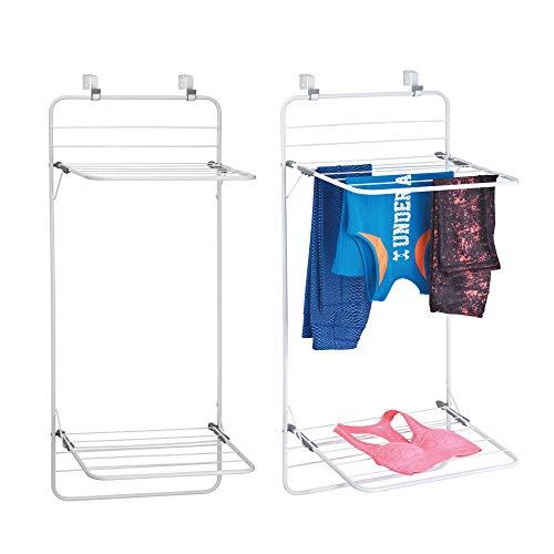 mDesign sèche-linge pour porte (lot de 2) – étendoir à linge peu encombrant à accrocher en métal et plastique – à 2 étages – séchoir à linge pour salle de bain ou buanderie – blanc/gris