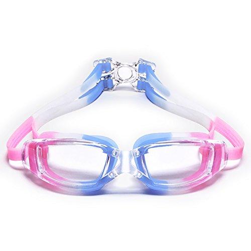 Schwimmen Schutzbrillen HD Anti-Fog und wasserdichte Männer und Frauen Badeanzug Caps Blau Rosa elastische Spiegel Band Soft Nase Brücke (Farbe : Blue Pink)