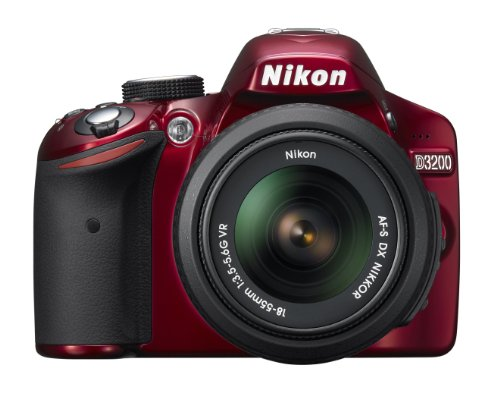 Nikon D3200 24.2MP Digital SLR camera (Red) with AF-S 18-55mm VR II Kit Lens, 8GB Card, Camera Bag