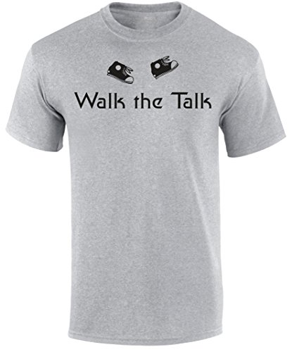 SuperPraise Walk The Talk Christian Honest Humble Blessed Life Religious Slogan Mens T Shirt - Grey, Light Blue or Beige Colour Christian T Shirt (Sleeve Tee Short Talk)