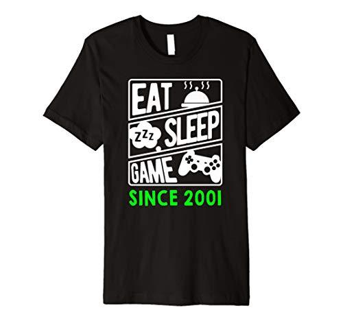 Eat Sleep Game seit 2001 T-Shirt Geschenk zum 18. Geburtstag