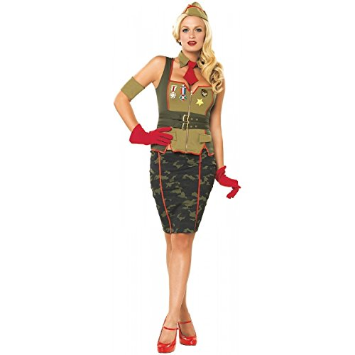 Leg Avenue - Sexy Pin Up General Kostüm 5-teilig - L - Grün/Rosa - 83503 (Army Pin Up Kostüme)