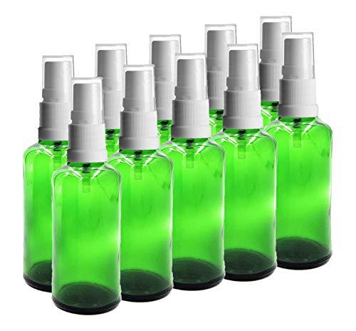 Avalon Kosmetik-Verpackung, 50 ml Glas-Tropfflasche und 18 mm Sprühspray, 10 Stück - grün -