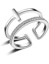 Summens Femmes Bijoux Zircon Réglable Bague Argent 925 Rings