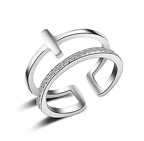 Ringe Damen 925 Silber Dopple Kreuz für Partnerringe Freundschaftsringe Verstellbare Knuckelringe