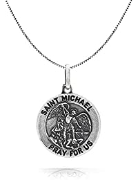 317973d448c Bling Jewelry Antiqued Finish St Michael Medal Pendant Sterling Silver 18in  Necklace
