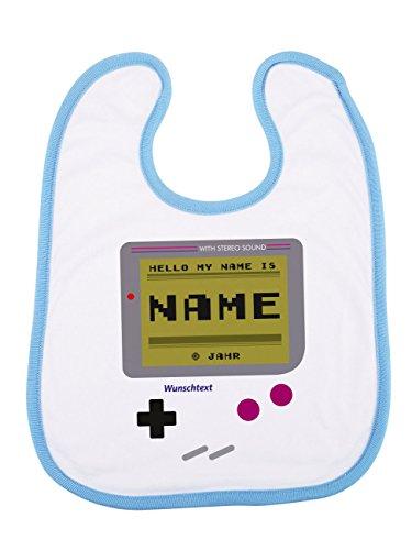 Striefchen® blaues Lätzchen mit Namen im Spielekonsole-Design als Babygeschenk mit Geschenkverpackung