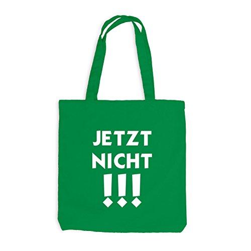 Jutebeutel - JETZT NICHT - Fun Work Office Kellygrün