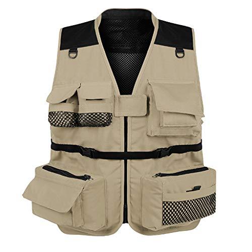 Toygogo Angeln Freizeitweste Anglerjacke Outdoorjacke Anglerweste Angeln Bekleidung mit Abnehmbare Rücken für Damen oder Herren - Khaki M