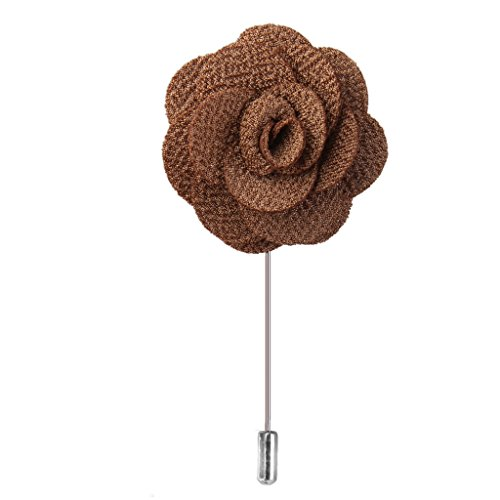 Stoff Revers Chinese Rose Blume Maenner Brosche Boutonniere Tuxedo Stift Braeune